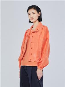 例外女装2020秋冬装外套橘色