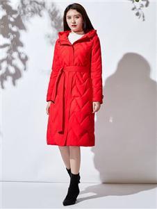 JAOBOO喬帛紅色羽絨服