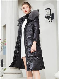 金蝶茜妮长款黑色羽绒服