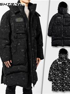inshining冬季防风保暖 连帽反光迷彩印花羽绒服男中长款加绒加厚