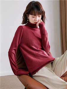 MODEERN女装酒红色羊绒衫