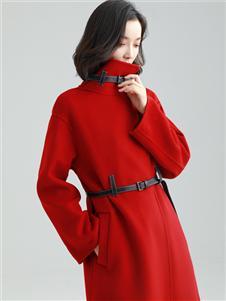 MODEERN女装秋冬红色连衣裙