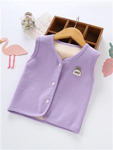 喜洋洋童装紫色加绒马甲