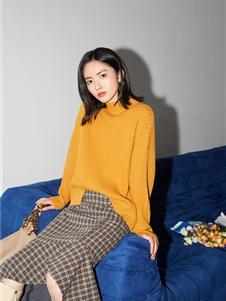 她图2020秋冬装女装黄色毛衣
