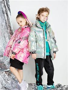 时尚小鱼童装时尚小鱼粉色羽绒服