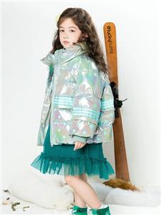 时尚小鱼童装时尚小鱼亮面羽绒服