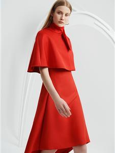 宝姿女装秋冬装红色裙装