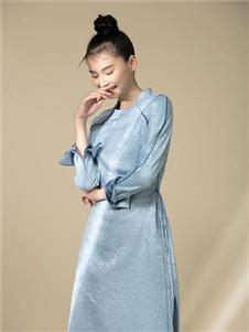 衡韵雅序女装衡韵雅序蓝色旗袍裙