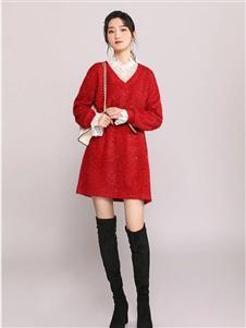 韩依瑞红色针织裙