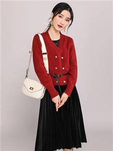 韩依瑞红色针织开衫