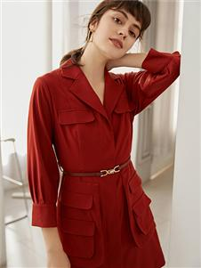 奥伦提女装红色衬衫裙