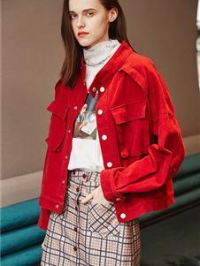 如缤女装秋冬款外套红色