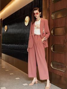 如缤女装秋冬款西装粉色套装