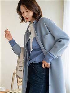 三弗新款蓝色大衣
