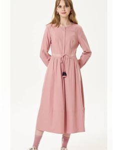 艺域女装艺域女装新款粉色衬衫裙