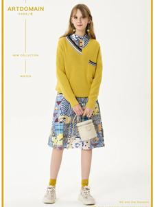 艺域女装艺域女装新款黄色针织衫