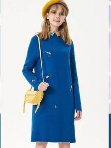 艺域女装艺域女装新款蓝色毛衣