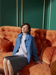 艾米瑞女装秋冬款蓝色大衣