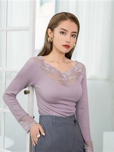 玫瑰春天内衣新款紫色打底衫