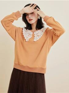 羽沙国际2020新款橘色毛衣