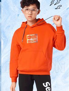 七波辉新款橘色卫衣