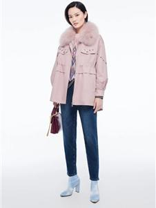 芭蒂娜女装新款粉色外套