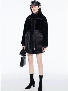 芭蒂娜女装新款黑色羊羔毛