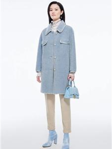 芭蒂娜女装新款蓝色大衣