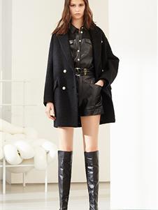 雪歌女装雪歌女装新款黑色大衣