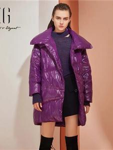 雪歌女装雪歌女装新款紫色羽绒服