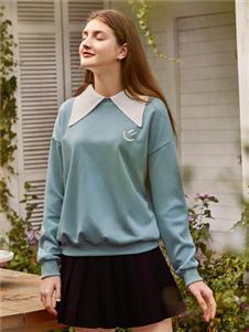 天使韩城新款蓝色卫衣