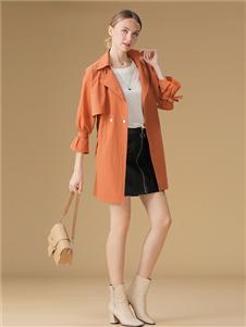 綺籽女裝2020秋冬裝橘色外套