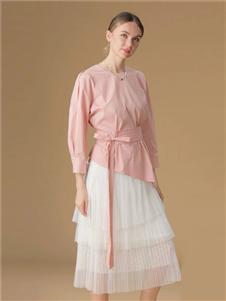 綺籽女裝2020秋冬裝粉色上衣