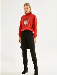 迪赛尼斯女装新款红色毛衣