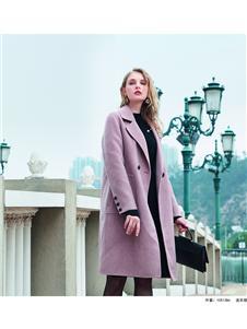 莎梵娜秋冬装都市系毛呢大衣外套