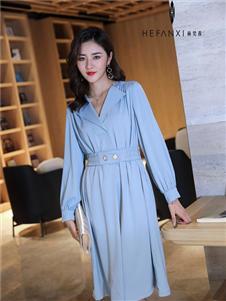赫梵茜新款天蓝色连衣裙