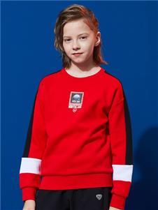 诺诗兰童装新款红色卫衣