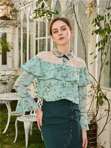贝洛安女装贝洛安2021春夏款绿色雪纺衫