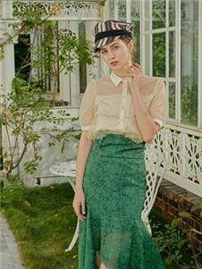 贝洛安女装贝洛安2021春夏款绿色半身裙
