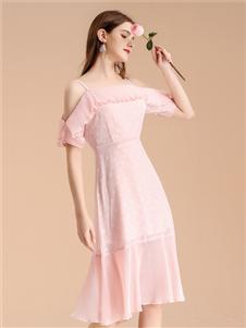 艾丽哲女装艾丽哲新款粉色连衣裙