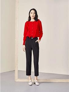 素帛女装素帛2021春款红色上衣