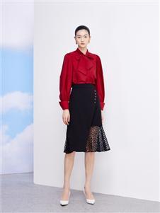 佧茜文2021春款红色雪纺衫