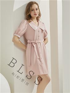 布伦圣丝粉色衬衫裙