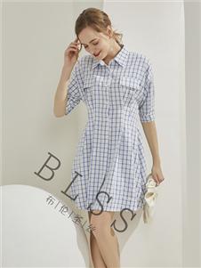 布伦圣丝格子衬衫裙