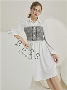 布伦圣丝新款拼接连衣裙