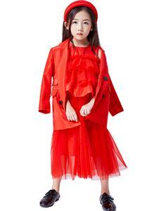 JOJO2021春女童红色裙子
