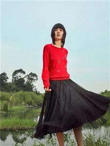 易菲2021春款红色毛衣