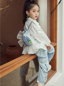 M童装女童白色唯美衬衫
