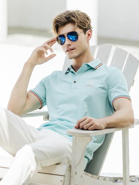 卡度尼新款藍色POLO衫