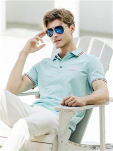 卡度尼新款蓝色POLO衫